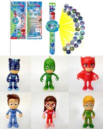 Wholesale Images Watches - New 6pcs  Set 8cm Pjmasks Characters Figure Boy Birthday Gift Plastic Dolls +Projection Watch Can Change 20 Images