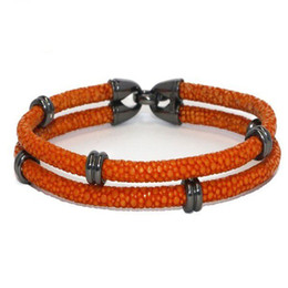 Wholesale Leather Bracelets For Jewelry Making - 2015 Hot Sell Fashion Jewelry With Mens-Made Stingray Skin Orange PU Leather Bracelet For Women Jewelry With Stainless Steel Beads Charms