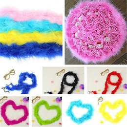 Wholesale Pink Feathers Craft - Party Decoration Scarf 2m Feather Boa Fluffy Craft Costume Wedding Party Dressup Home Flower Decor AB Infinity Scarf