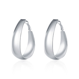 Wholesale Egg Plant - Fashion Women's Silver Earrings , 925 Silver Hoop Earrings Party Smooth Egg Shape Ear rings Mark 925 Jewelry Free Shipping e018