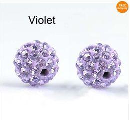 Wholesale Disco Balls Beads - 100pcs lot 10mm Purple Shamballa Beads,Shamballa Bracelet Crytal Beads, Disco Ball Crystal Beads Free Shipping