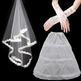 Wholesale Muslim Bridal Gloves - Free shipping Bridal wedding dress accessories Veil gloves bustle Three-piece Three color options