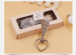 Wholesale Wine Packaging Box - LOVE heart shaped beer bottle opener Wedding Favor Gift Creative gifts Key Wine Opener Gift box packaging