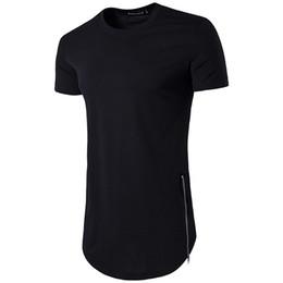 Homens novos do estilo camisetas on-line-Novo Estilo Hip Hop Man's Tops dos homens de Manga Curta T camisas hem Arco Com Curva Bainha Side Zip tee