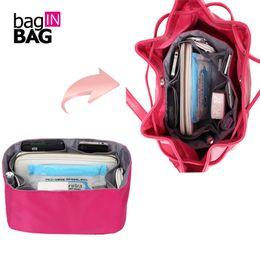 Wholesale Bucket Organizer - Baginbag High Quality Nylon Women Makeup Cosmetic Bag Travel Organizer Insert Bag For Brand Bucket Bag Storage Bags