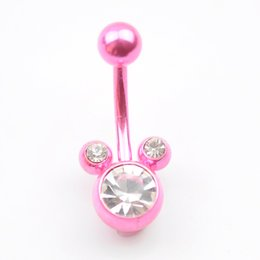 Wholesale Piercing Ring Acrylic - D0126-1 BODY JEWELRY PIERCING Nice style Navel belly ring 10 pcs PINK color stone drop shipping