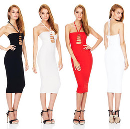 Wholesale Club Bra Dresses - 2016 One Piece Dress Sleeveless Strapless Bra Three Hanging Neck Strap Skirt Explosion models for Europe USA S M L Sizes 3 Colors DHL Free