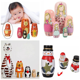 Wholesale Doll Braids - 5pcs set Wooden Russian Nesting Dolls Braid Cartoon Traditional Matryoshka Dolls Wooden Animal Paint Nesting Dolls Wooden Animal Paint Nesti