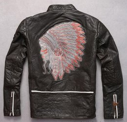 Wholesale Motorcycle Jackets Leather Classic - Indian head Embroidery back Marbobo Classic motorcycle leather jackets 100% genuine leather