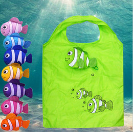 Wholesale Fishing Shopping - mic New multicolor Tropical Fish Foldable Eco Reusable Shopping Bags 38cm x58cm Bags, Luggages & Accessories Free Shipping