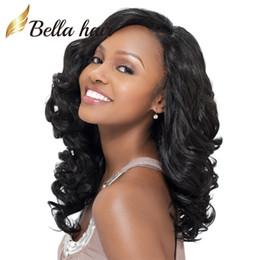 Большие черные парики онлайн-Большие вьющиеся парики для чернокожих женщин 100% человеческих волос парики шнурка естественный цвет девственные волосы кружева передние парики Bellahair