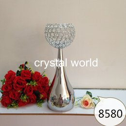Wholesale Diamond Candles Holders - Fashion Stainless Steel Diamond Crystal Candle Holder 142 Wedding Dicoration Candle Stand Silvering Metal Candletick