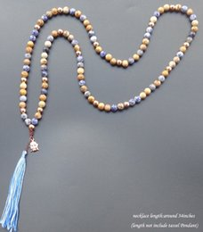 Wholesale Tassel Mala - Wholesale- 108 mala necklace Natural stone with tassel Buddha head necklace yoga boho Jewelry For Women Jewelry 8mm bead