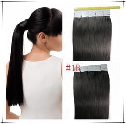 grado 16 '' - 26 '' estensioni dei capelli umani brasiliani della pelle del nastro dell'unità di elaborazione EMY 2.5g / pcs 40pcs100g / pacchetto # 1b nero naturale da