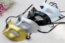 Wholesale White Wedding Masquerade Masks - 20pcs 2015 new arrive Masquerade Mens Masks Halloween Christmas Masquerade Masks Venetian Dance party Mask Men mask 4 colors D165
