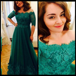 Wholesale Cheap Women Robes - Robe Soiree Elegant Green Long Prom Dress 2018 Off Shoulder Lace Tulle Formal Evening Party Half Sleeve Pageant Gown For Women Cheap