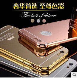 Luxo de alumínio espelho de metal bumper case quadro da tampa do pc para iphone 7 se 6 6 s plus 5s samsung galaxy s7 s6 borda nota 7 de