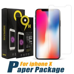 Wholesale Protective Films - For iPhone X Screen Protector 0.33mm Protective Tempered Glass For iPhone 8 iPhone 7 Protective Film with Paper Package