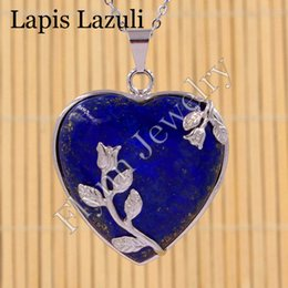 Wholesale Lapis Heart - Red Agate Lapis Lazuli Blue Sand Natural Gem Stone Heart Silver Plated Rose Flower Reiki Pendant Charms Amulet Classic Jewelry Gift 10pcs