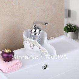 Wholesale Vanity Ceramic Sink Sale - Hot Sale Deck Mounted Ceramic Single Handle Bathroom Waterfall Faucet Chrome Basin Vanity Faucet Sink Mixer Tap AD-92683
