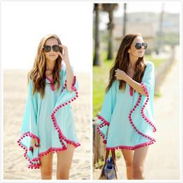 Wholesale Swimwear Rash - Summer fashion Lace hairball Beach dress Swimwear chiffon Tassel Smock Hedging V-neck Sunscreen Shawl blue