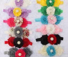Wholesale Shabby Flower Crystal - 2016 fashion pearl crystal overlap Three Shabby Flowers Baby hair band Chiffon rose flowers Flower Hair band 50pcs lot