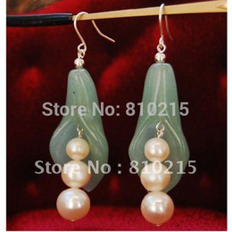 Wholesale Earring Freshwater Pearl - Nice Freshwater Pearl Round PEA Pot Princess Green Jade Earring S925 Silver Hook Fashion Jewelry Wholesale New Free Shipping