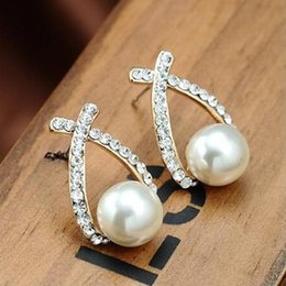 Wholesale Cute Rhinestone Cross Earrings - Free shipping New Arrival Gold Plated Cute Delicate Cross Pearl Earrings Fashion Rhinestone Diamond earrings earrings for women Jewelry