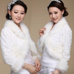 Wholesale Ivory Faux Fur Wedding Shawl - Retail Warm Faux Fur Ivory Wrap Wedding Jacket Shawl Bridal Bolero Coat Wedding Accessories