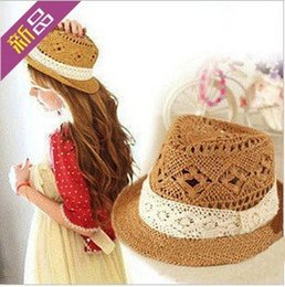 Wholesale Hollow White Jazz - Wholesale-Jazz Hats Free Shipping Fashion Hollow Lace Beach Sun Hats Khaki With White Lace Outdoor Caps For Women