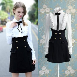 Wholesale Black Gothic Victorian - lolita gothic victorian dress double breasted dress black and white shirt dresses for formal new eve dresses