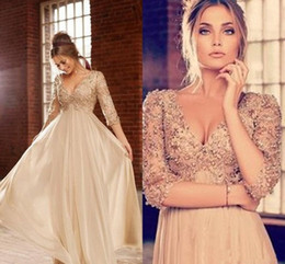Wholesale Cheap Coral Beads China - China Formal Evening Gowns Prom Dresses With 3 4 Long Sleeve Beads Pearls Sequins 2015 Cheap Sexy V Neck Gold Champagne Chiffon Floor-Length