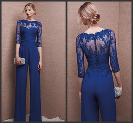 New Royal Blue Plus Size Mother Of Bride Pantalone 3/4 Pizzo Manica Madre Tuta Chiffon Cocktail Party Abiti da sera Custom Made 481 da pantaloni sposa madre abito blu royal fornitori