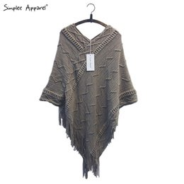 Wholesale Poncho Tricot - Simplee Apparel batwing sleeve tassel hem knitting cloak sweater 2015 women fall fashion tricot cape poncho Autumn winter jumper