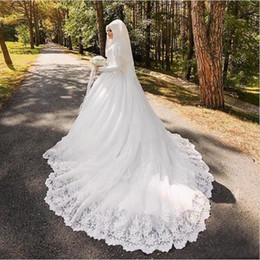 Wholesale Wedding Trails - 2018 New Arabic Muslim Bridal Dress with Long Trail Luxury Long Sleeves Court Train Appliqued Hijab Wedding Dresses Robe De Mariage