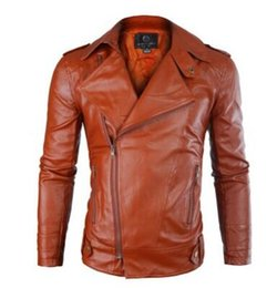 Wholesale Khaki Leather Sleeve Jacket - Wholesale- New Brand Leather Jacket Men 2017 Fashion Mens Slim Fit Motorcycle Biker Jacket Casual Jaqueta De Couro Veste Cuir Homme 140