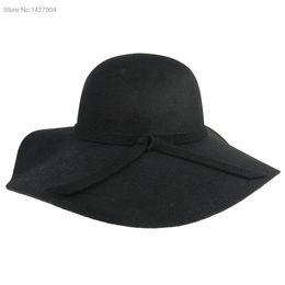 Wholesale Grey Bowler Hat - Wholesale-Women Vintage Fashion 2015 New Style Soft Retro Wide Brim Wool Felt Bowler Fedora Hat Floppy Cloche Sun Hats SV004510