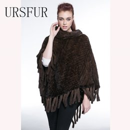 Wholesale Knitted Mink Scarves - Warm Winter Fur Scarves Real Mink Fur Knit Poncho Shawl Cape Women Fur Knitted Pashmina with Tassel 2017 Autumn Vest Wraps