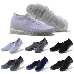 Wholesale Fashion Knit Fabrics - 2018 New Vapormaxes 2 Running Shoes For Men Women Sneakers white Knit TPU Fashion outdoor trainers Athletic Sport Shoe Jogging Walking