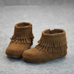Wholesale Brown Suede Fringe Boots - retail 2016 kids suede Leather Autumn Winter Tassel Boots baby Warm Leather Fringe shoes Girls Tassel Boots 3colors 2styles