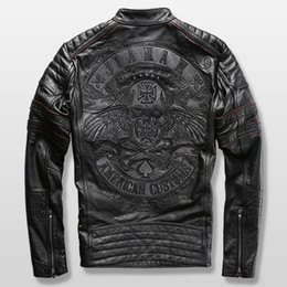Argentina Harley chaqueta de ciclista para hombre chaqueta de cuero para hombre genuina piel de vaca bordado cráneo chaqueta de cuero delgado Suministro