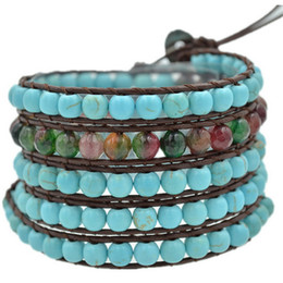 Wholesale Indian Beaded Bags - Lily Womens DIY Leather Bracelet Agate Bead Fashion Wrap Leather Wristband Cuff Turquoise Punk Bracelet with gift bag