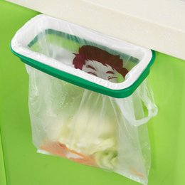 Wholesale Rubbish Container - Wholesale- 1PC Easy Carry Hanging Garbage bag Holder Rubbish Storage Junk Drawer Box Kithcen Waste Container