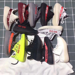 Wholesale Child Shoes Free Run - Fashion 2018 Kids Run Shoes Kanye West SPLY 350 Running Shoes Boost V2 Children Athletic Shoes Boys Girls Sneakers Size EUR 24-35 DHL Free