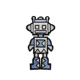robot vestiti Sconti Patch divertenti robot per abbigliamento Ferro su patch per applique trasferibile per borse Jeans cucito fai da te Badge ricamato 1pz
