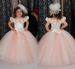 Wholesale Cinderella Dresses For Girls - cinderella Flower Girl Dresses 2015 Bateau Handmade Flowers Ball Gowns Girls Pageant Gowns Lace Up Girls Birthday Princess Dresses For Kids