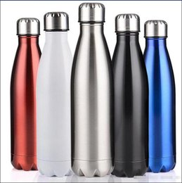 Wholesale Bicycle Hands - Free shipping High quality Hot Cola Shaped Water Bottle 500ml Double Wall Stainless Steel Vacuum Stainless Steel Coke Water Bowling Bottles