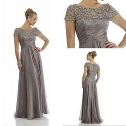 Wholesale t strap dress - New Arrival 2015 Gray Mother of the Bride Dresses with Short Sleeves Floor Length Chiffon Beading Crystal Formal Evening Dresses EA0040