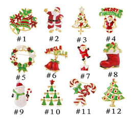 Wholesale Tin Tie Bags Wholesale - Christmas brooches pins gold plate Christmas tree snowman Santa Claus jingle bells brooch tie-pin scarf cap hat bag accessories party gift