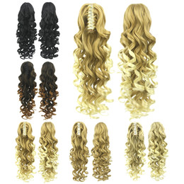 Wholesale long wavy ponytail - Z&F Women Fashion Claw Clip Ponytails 5 Colors Synthetic Long Curly Wavy 60 CM 180g Hair Extensions